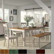 Elena Antique White Extendable Rectangular Dining Set With Oak Chairs 6-piece Se