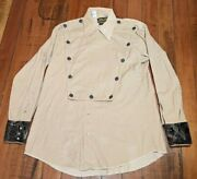 Vintage 1970s Size Large L Western Style Cotton Shirt Embroidered Pearl Buttons