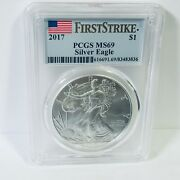 2017 American Silver Eagle Pcgs Ms69 First Strike Flag Label