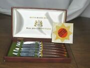 Sheffield E. Parker And Sons Set 6 Steak Knives Simulated Stag Handle With Case