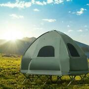 Costway 2-person Compact Pop-up Tent/camping Cot W/ Air Mattress And Sleeping Bag