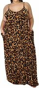 Lexiart Plus Size Spaghetti Dresses - Sexy Summer Long Maxi Dress With Pockets B