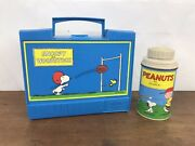 Vintage 1971 Snoopy And Woodstock Plastic Blue Lunch Box And 1959 Thermos A8
