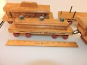 Rare Wwii Large Wood Toy Train Cass Toys Engine, Passenger, Tanker, Stake Cars