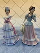 Two 2 Homco Home Interiors Lady Porcelain Figurines  1431 And 1452