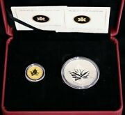2010 Piedfort Set Of 1/5 Oz Gold And 1 Oz Silver Canadian Maple Leaf