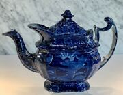 Historical Wood Transferware Lafayette At Franklinand039s Tomb Teapot 19thc