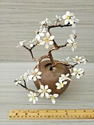Vtg Asian Chinese Metal Enamel Bonsai Tree Flower Pottery Pot 9.25and039and039 T 8.5and039and039 W