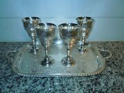 Set Of 4 Gorham Chantilly Silver Plated Wine Goblets 5.25 W/ Silverplated Tray