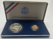 1987-w Us Constitution Proof Set - Silver 1 Dollar And Gold 5 Dollar Coins Coa