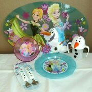 Disney Olaf Flatware, Cup, Bowl, Placemat And Plate Frozen Snowman Anna Elsa Nwt