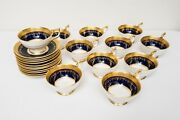 Aynsley Georgian Cobalt Blue Cup And Saucers Set Of 11 Free Usa Shipping