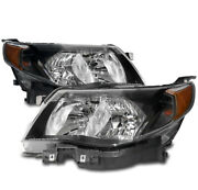 For 09-13 Subaru Forester Crystal Style Headlights Lamps Black Left+right Pair