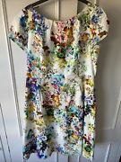 Cc Country Casuals Large, 16 Cream Floral Summer A Line Tea Dress Pretty