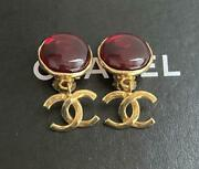 Auth Vintage Gripoix Cc Logo Dangle Earrings Red/gold 96p Used Fm Japan