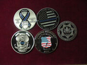 Lot Of 5 Assorted St Michael Challenge Coin Police Support