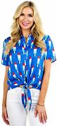 Tipsy Elves Funny Cute Red White And Blue Womenand039s Short Sleeve Button Down Shirt