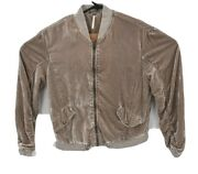 Free People Womens Velvet Ruched Gray Brown Full Zip Bomber Jacket Size S Soft