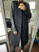 J Brand Real Leather Sleeves 100 Wool Asymmetric Coat, Sold Out Rare Xs Uk 4-6