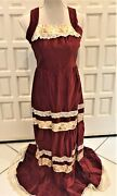 Rust Velvet Maxi Prairie Dress Tiered And Embroidered Size 6 Excellent Condition