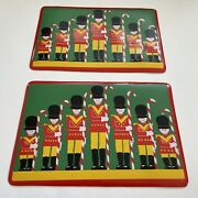 2 Vintage Christmas Soldier Candy Cane Kids Vinyl Placemats_red Nutcracker