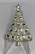 Christmas Tree Clear Crystals Eisenberg Ice Vintage Silver Pin Brooch D-8784