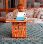 Mechanical 1950's Miss Busy Bee Typist Tin Wind-up Kanto Toys Japan Excellent