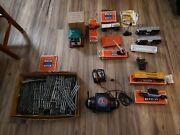 Lot 99 Items O Guage Lionel Trains Engine Track Controls Cars Billboards Signs