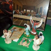 African American Themed Christmas 8 Lot Decoration Angel Figurines And Last Supp