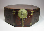 A Fine Korean Octagonal Wood Box/lid With Carved Decorations-19th C