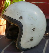 Vintage Century White Open Face Motorycle Helmet And Chinstrap Leather Rare