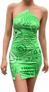 Tie-dyed Straps Halter Dresses For Women Backless Bodycon Mini Skirts Vintage Y2