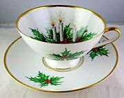 Hutschenreuther Noel 3748 Tea Cup And Saucer Xmas Christmas Holly With Candles