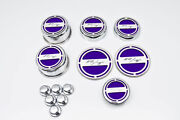 13pc Etched R/t Fluid Cap Covers W/plum Crazy Purple Inlay For 08-19 Challenger
