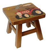 Farmers Red Tractor Carved Stained Wood Step Stool Painted Design
