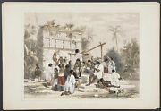 Catherwood - Well And Building At Sabachtsche. 18 1844 Colored Folio Lithograph