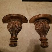 2 Vintage Wooden Carved Wall Shelf Display Home Decor Sconce Ornate 11.5 Tall