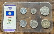 2000-2010 Belize Coin Set Qeii Uncirculated 1 Dollar To 1 Cent 6 Coins