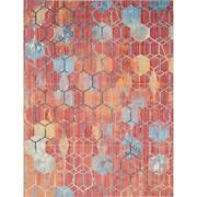 Unique Loom Honeycomb Rainbow Area Rug Red 10and039 X 13and039