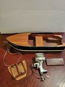 1950-60's Nmc Hurricane Toy Electric Metal Outboard Motor And Thunderbolt Boat