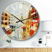 Designart And039couple Walking In Parisand039 Sensual Large Wall Clock Red 23 In. Wide X 2