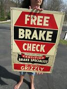Vintage Original 1950and039s We Install Grizzly Free Brake Check Sign