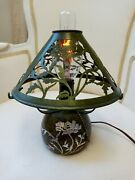 Antique Mission Arts And Craft Heintz Sterling Silver On Bronze Mica Art Lamp