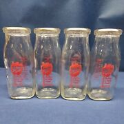 Old Shrums Dairy - Tall Half Pint Milk Bottles Lot Of 4 - Jeanette Pa