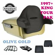 Olive Gold King Tour Pack Trunk Black Hinges And Latch Fit 1997-2020 Harley