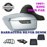 Barracuda Silver Denim King Tour Pack Black Hinges And Latch Fit 1997-2020 Harley