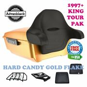 Hard Candy Gold Flake King Tour Pack Black Hinges And Latch Fit 97-20 Harley