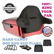 Hard Candy Hot Rod Red Flake King Tour Pack Black Hinge Latch Fit 97-20 Harley