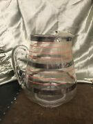 """Vintage Glass Pitcher Red And Silver Stripped Silver Overlay Stripe 8"""""""