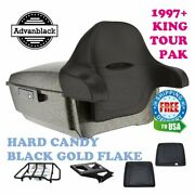 Hard Candy Black Gold Flake King Tour Pack Black Hinges And Latch Fit 97-20 Harley